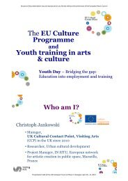 The EU Culture Programme and Youth training in arts & culture (PDF)