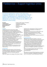 Fieldservice- / Support Ingenieur (m/w) - Tag der Elektrotechnik und ...