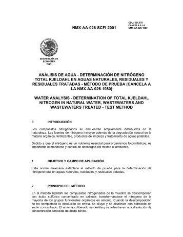 NMX-AA-026-SCFI-2001 ANÁLISIS DE AGUA ... - CONAGUA