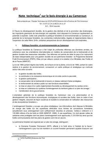 Note technique sur le bois-énergie à au Cameroun - RIAED