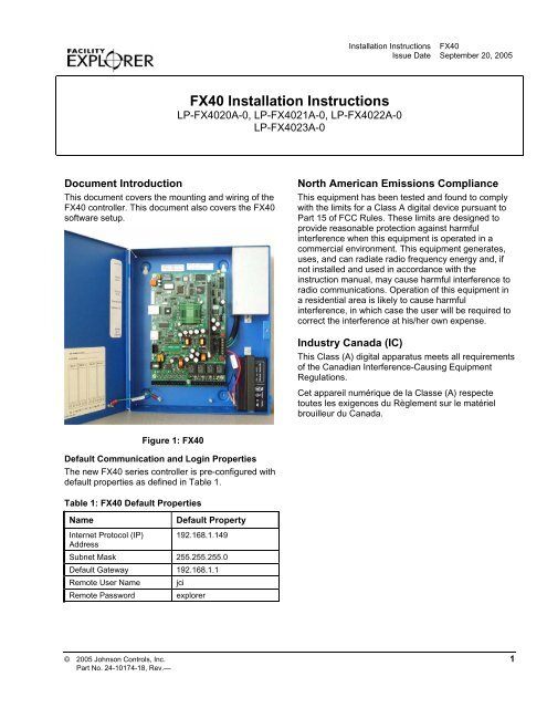 Cool Fx40 Installation Instructions Johnson Controls Johnson Controls Wiring Digital Resources Indicompassionincorg