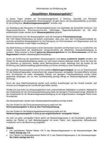"""""""Gesplitteten Abwassergebühr"""" - Schönau"""