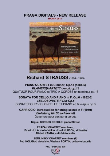 RICHARD STRAUSS Quartet piano Cello sonata ... - Pragadigitals