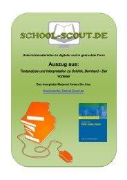 Textanalyse und Interpretation zu Schlink, Bernhard - Der Vorleser