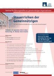 Steuerrisiken der Gemeinnützigen - Deutsches Verbände Forum
