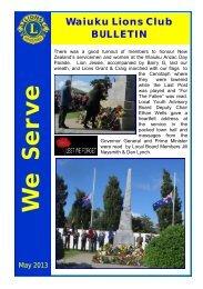 Waiuku Lions Bulletin May 2013 - Lions Clubs New Zealand