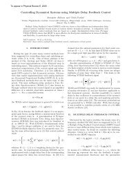Controlling Dynamical Systems using Multiple Delay Feedback ...
