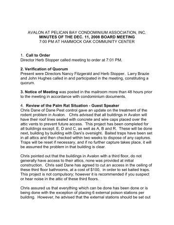 avalon at pelican bay condominium association ... - the Naples Free