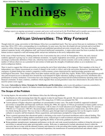 Universities in Africa – Strategies for Stabilization and Revitalization