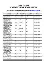 Rental and Resource Listing - Lake County