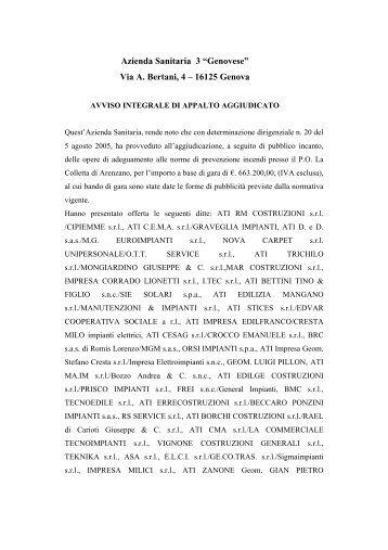Via A. Bertani, 4 – 16125 Genova - ASL n.3 Genovese