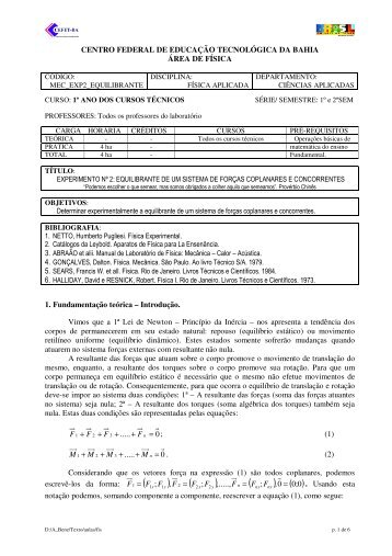 Exp2_Equilibrante de Forças - Cefet-BA