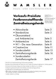 Wamsler Preisliste Festbrenns.- u. Zentalheizungsherde