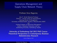 Operations Management and Supply Chain Network Theory