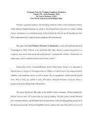 Program Notes for Virginia Symphony Orchestra Classics #8 - 24-26 ...