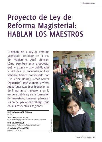 Proyecto de ley de reforma Magisterial: hablaN los Maestros - Tarea
