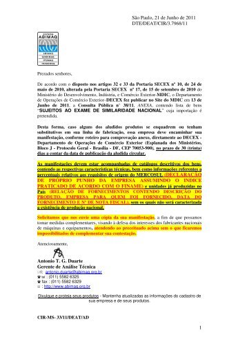 consulta pública nº 38 de 13/06/2011 exame da similaridade - Abimaq