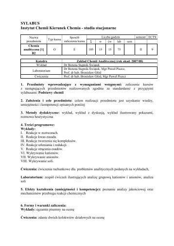 Sylabus MSc 5 years - Zakład Chemii Analitycznej