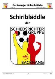 Backnanger Schiribläddle - der Schiedsrichtergruppe Backnang