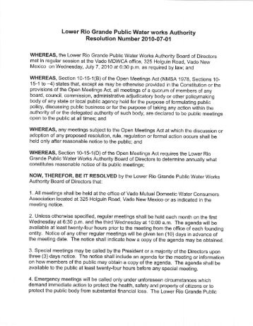 Lower Rio Grande Public Water works Authority Resolution Number ...