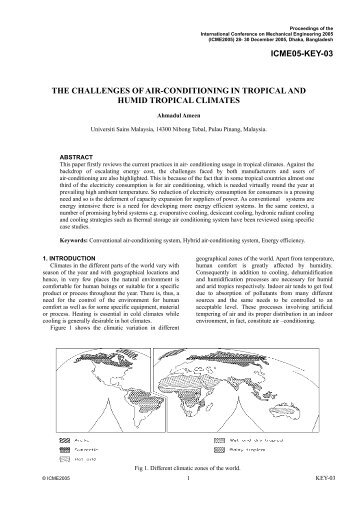 The Challenges of Air-Conditioning in tropical and Humid Tropical Climates
