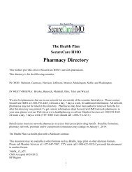 The Health Plan SecureCare HMO Pharmacy Directory