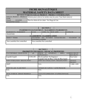fiche signalétique material safety data sheet - Regulatory-info-hsx.com