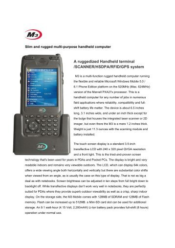 A ruggedized Handheld terminal /SCANNER ... - Warp Systems