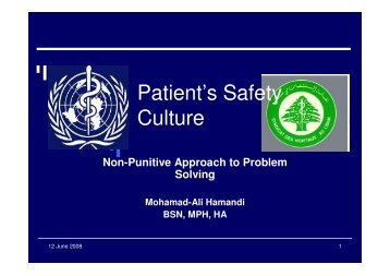 Patient's Safety Culture - Syndicate of Hospitals in Lebanon