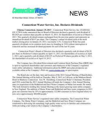 Connecticut Water Service, Inc. Declares Dividends