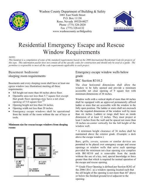 Residential Emergency Escape And Rescue Window Requirements
