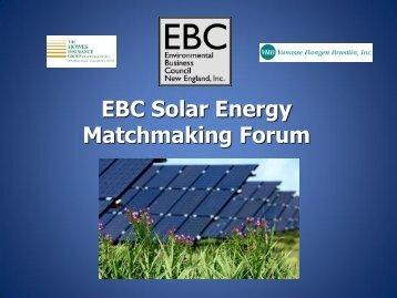 EBC Solar Energy Matchmaking Forum - Environmental Business ...