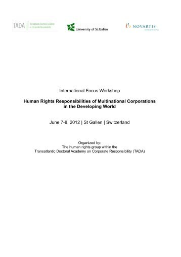 Human Rights Responsibilities of Multinational ... - Nicole Janz
