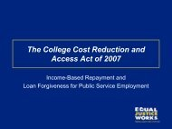 The College Cost Reduction and Access Act of 2007 - Indigent ...