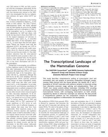 The Transcriptional Landscape of the Mammalian Genome