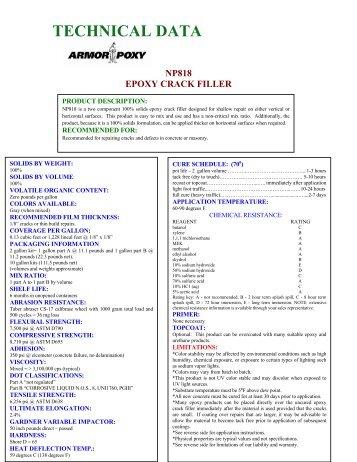 technical data np818 epoxy crack filler - ArmorPoxy