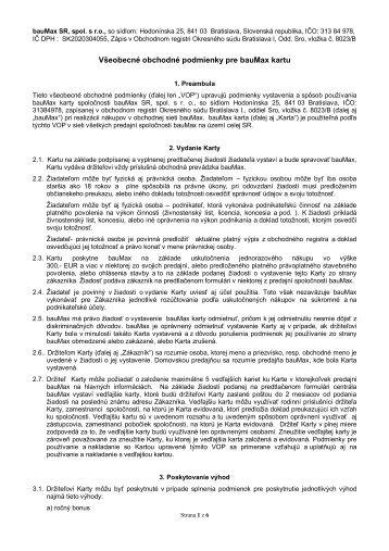 Va Eobecna C Obchodna Podmanky Pro Baumax Kartu