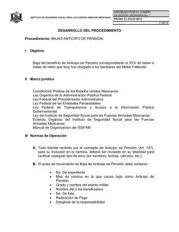 DESARROLLO DEL PROCEDIMIENTO Procedimiento ... - Issfam