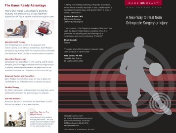 Game Ready Brochure .PDF - Michigan Universal Physical Therapy