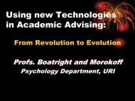 Using new Technologies in Academic Advising: