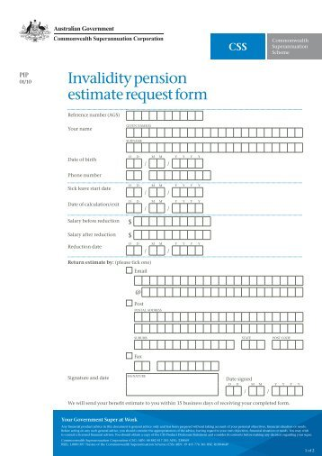 PipPss Invalidity Pension Estimate Request Form