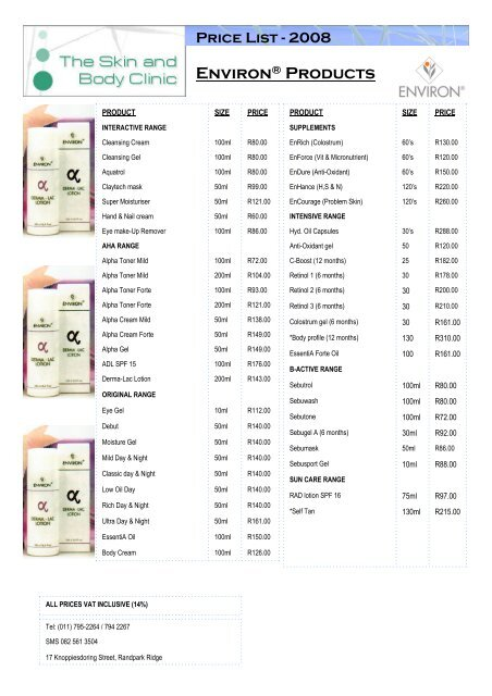 Environ® Products - The Skin and Body Clinic