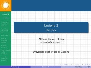 Lezione 3 - Statistica - Docente.unicas.it