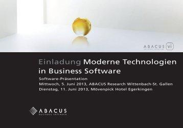 Einladung Moderne Technologien in Business Software - Axept