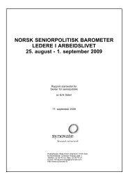 Norsk seniorpolitisk barometer, ledere 2009 - Senter for seniorpolitikk