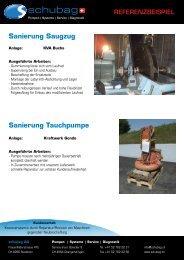 Sanierung Saugzug Sanierung Tauchpumpe - schubag AG