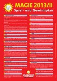 Spiel- und Gewinnplan Magie 2013 - II - Adp Gauselmann GmbH