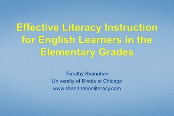 Effective Literacy Instruction for English learners in the Elementary ...