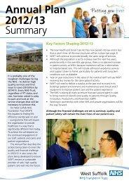Annual Plan 2012/13 Summary - West Suffolk Hospital