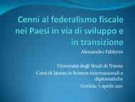 La teoria del federalismo fiscale - Università di Trieste Polo di Gorizia